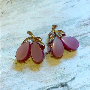 Vintage purple clip on earrings